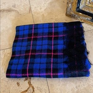 NORDSTROM trend plaid circle neck scarf with lace